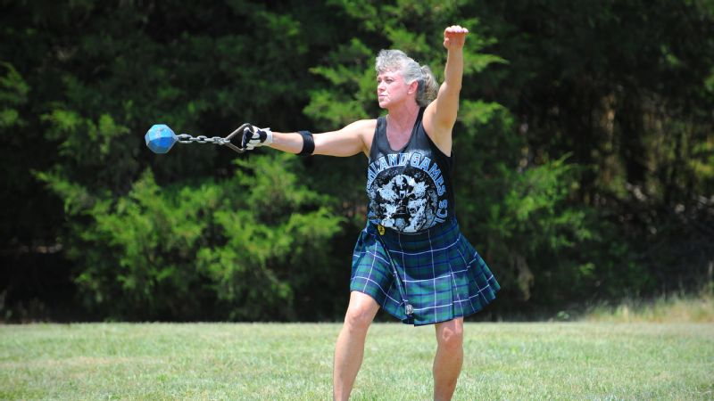 Terri Ventress is a master at the unusual sports of the Highland Games -- and at 56, is beating everyone else in her age group.