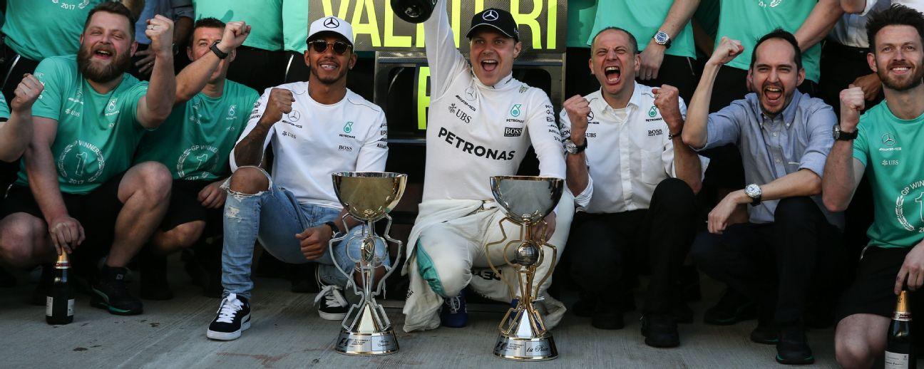 Valtteri Bottas of Mercedes won the 2017 Russian Grand Prix ahead of Sebastian Vettel and Kimi Raikkonen of Ferrari.