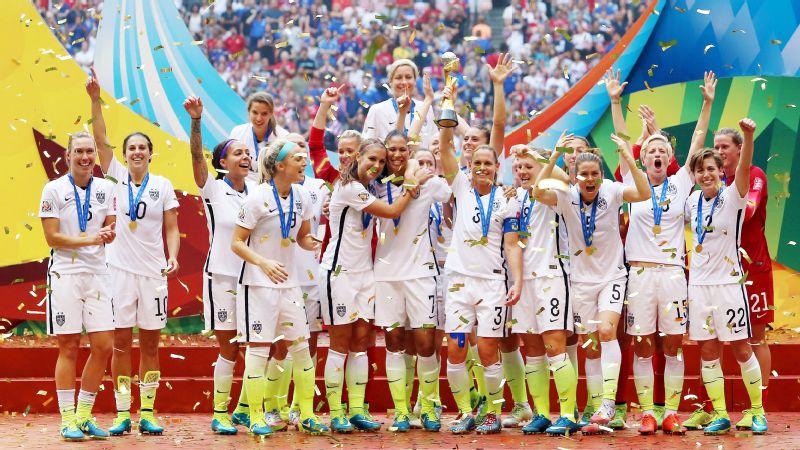 The United States celebrate winning the FIFA Women's World Cup in 2015.