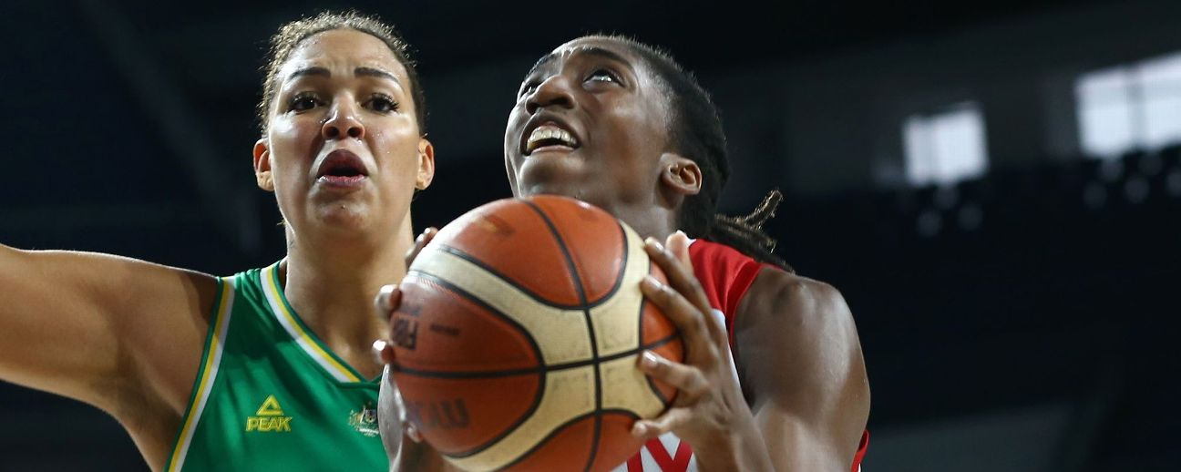 Kuanitra Holingsvorht of Turkey in action against Liz Cambage of Australia.