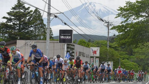 Riders compete at the Fuji International Speedway Road Cicuit during the 2018 Tour of Japan. Mount Fuji will be the backdrop for the 2020 Olympics time trials.