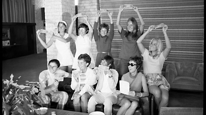 In September 1970, the Original 9 each signed a 1 contract with Gladys Heldman, publisher of World Tennis Magazine, and risked being banned from the sport. Bottom, from left: Judy Dalton, Kerry Melville (Reid), Rosie Casals, Gladys Heldman and Kristy Pigeon. Top, from left: Valerie Zingenfuss, Billie Jean King, Nancy Richey (Gunter) and Peaches Bartkowitz.