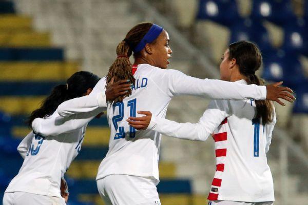 Jess McDonald scored the U.S.'s only goal.