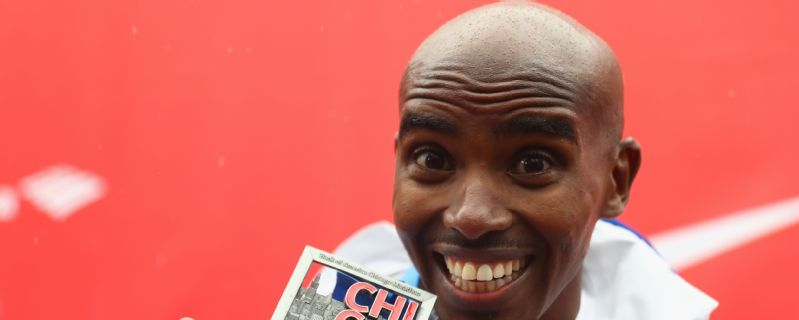 Mo Farah celebrates after winning the Chicago Marathon in October