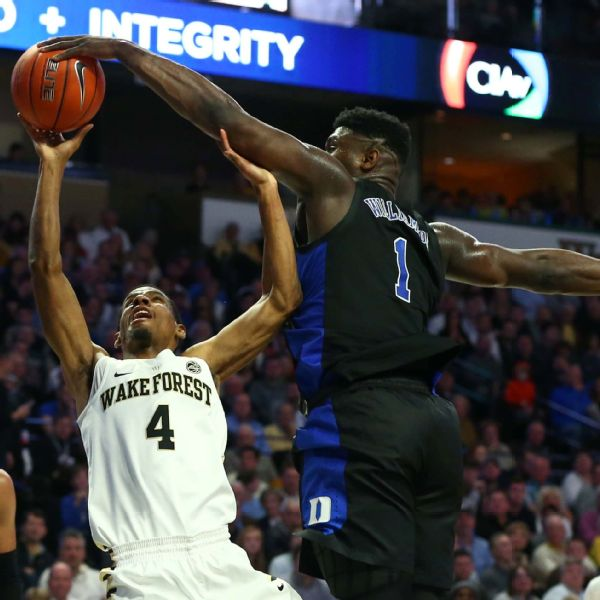 Duke's Zion Williamson showed off all facets of his game Tuesday night against Wake Forest, leading Demon Deacons coach Danny Manning to compare Williamson to former Wake Forest great Rodney Rodgers.