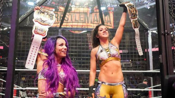 Sasha Banks and Bayley won the brand new WWE women's tag team championships at Elimination Chamber.