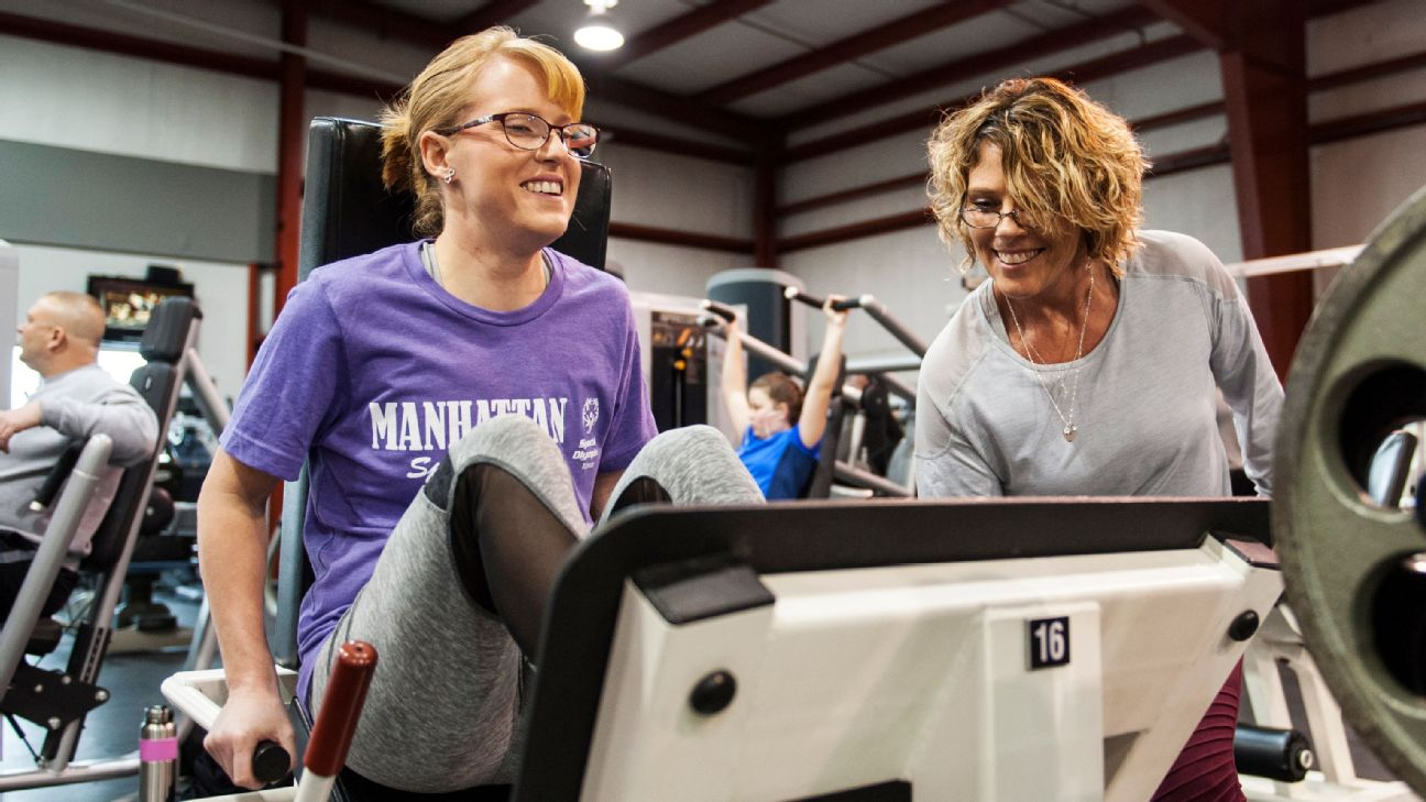 Mallory Morris (left) is pushing herself to get ready for the Special Olympics World Games in Abu Dhabi -- and her coach, Tonia Lee, has been there every step of the way.