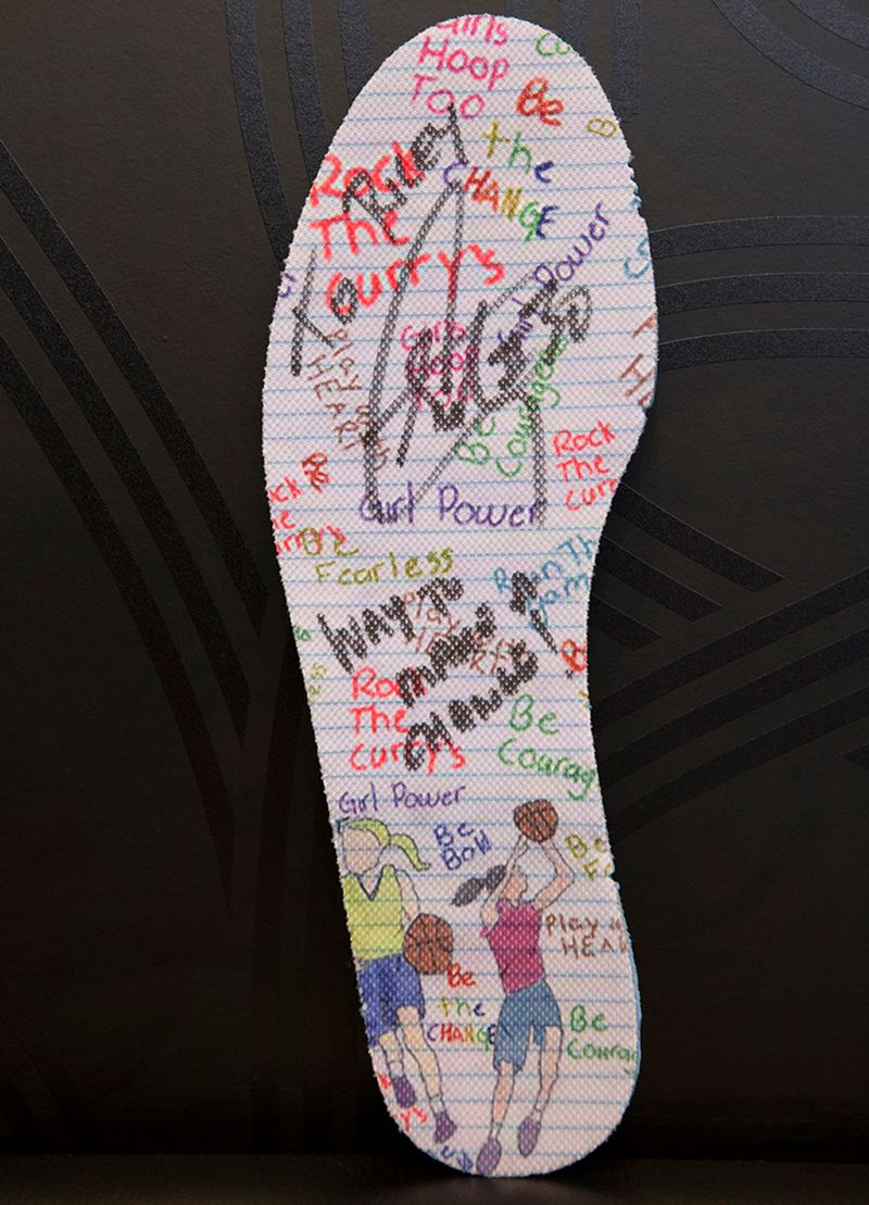 This is the sock liner Riley designed and had signed by Steph Curry at the Under Armour pop-up store in Oakland.
