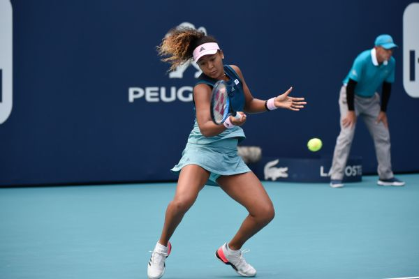 Naomi Osaka was eliminated in the third round of the Miami Open on Saturday, matching the earliest departure of the top-seeded woman from the tournament.