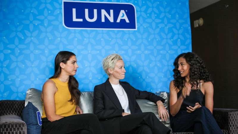 U.S. women's national team stars Alex Morgan, Megan Rapinoe and Christen Press gathered in Los Angeles to discuss LUNA Bar's decision to pay the difference between men's and women's Women's World Cup roster bonuses.