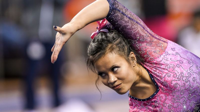 Auburn senior gymnast Sam Cerio was taken away from Friday's NCAA gymnastics regional on a stretcher with aircasts on both of her legs.