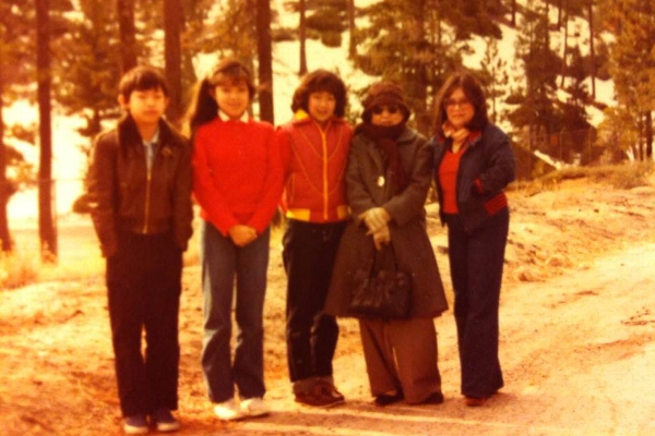 Ann Hirakawa (second from left) with her siblings, mother and grandmother at Palomar Mountain in Northern San Diego County circa 1982.