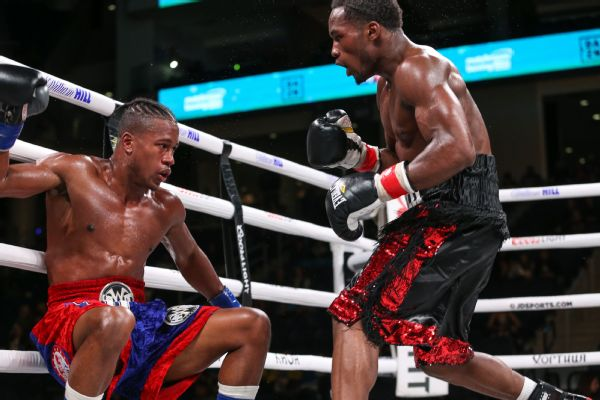 Charles Conwell and Patrick Day during their October 12, 2019 Matchroom Boxing USA fight at the Wintrust Arena.