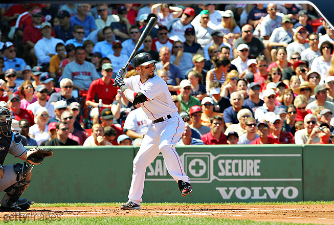 In his initial batting stance, Pedroia starts off looking rather still and almost passive. But it's merely the calm before the storm because Pedroia has among the most violent swings in baseball. Here, he lifts his front leg and begins to load his bat.