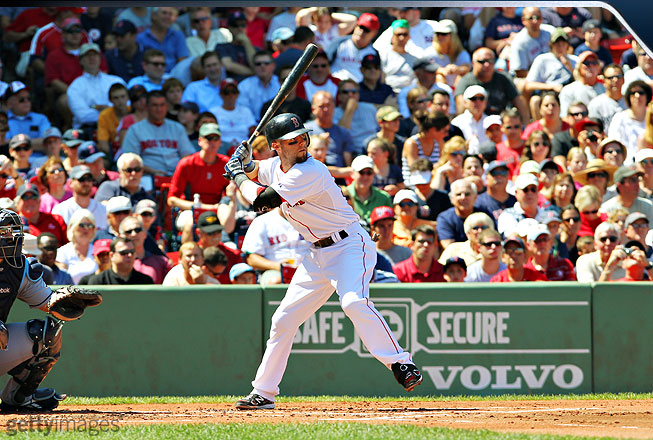 Although Pedroia always looks like he's swinging as hard as he can and praying for contact, there's plenty of discipline in his swing. As his foot comes forward, it is pointed inward along with his knee, and his bat continues its backward movement.