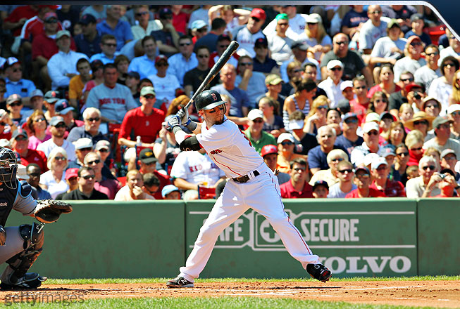 How does Pedroia generate so much power from his 5-foot-8 frame? Look at this picture: His bat is completely loaded, his body is fully torqued and balanced, and he's ready to uncoil as his front foot comes down.