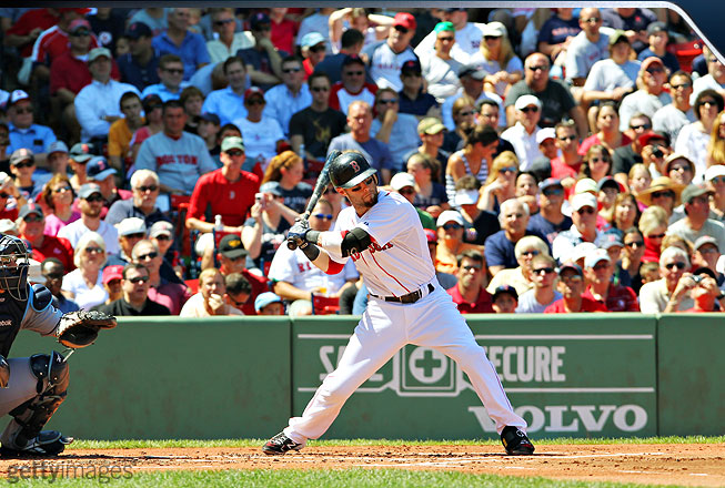 After Pedroia's front foot hits the ground, his weight transfer begins, unleashing his entire body toward the point of contact. He keeps his front side closed as long as possible and the bat head above his hands as they take a direct path to the ball.