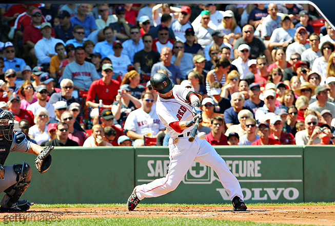 This shot is about as good as it gets in terms of capturing a player at the point of contact. Pedroia is in perfect position to make excellent contact and release significant power. You can see the ball about to make contact directly on the barrel.