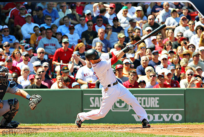 Pedroia gets full extension out of his swing, practically pointing the bat in the direction of the ball as he seemingly launches it into orbit. He has surprising power for someone his size; his 21 homers in 2011 were a career high.