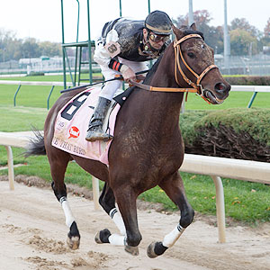 Jockey Calvin Borel, playing himself, races Mine That Bird at Churchill Downs in a scene from