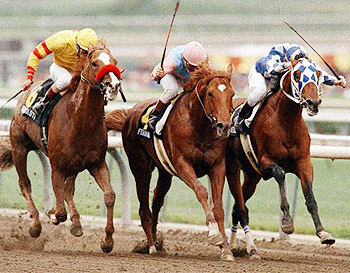 Alysheba (right) beats Ferdinand (center) and Good Taste to the wire in the 1988 San Bernardino Handicap at Santa Anita Park.
