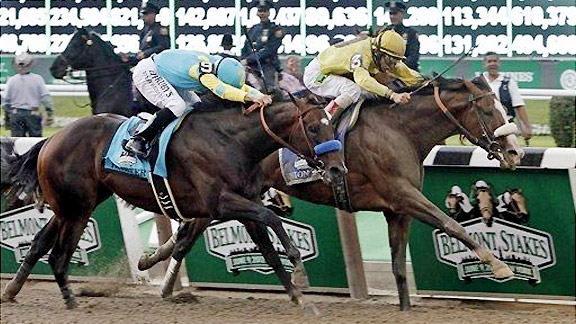 Union Rags gets past Paynter to win the Belmont Stakes.