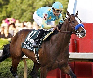 Mike Smith guides Bodemeister to victory in the Arkansas Derby.