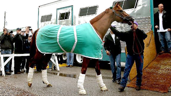 California Chrome arrives at Churchill for the 140th Kentucky Derby.