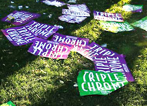 Posters supporting California Chrome's bid for the Triple Crown litter the ground at Belmont Park after the 146th running of the Belmont Stakes.