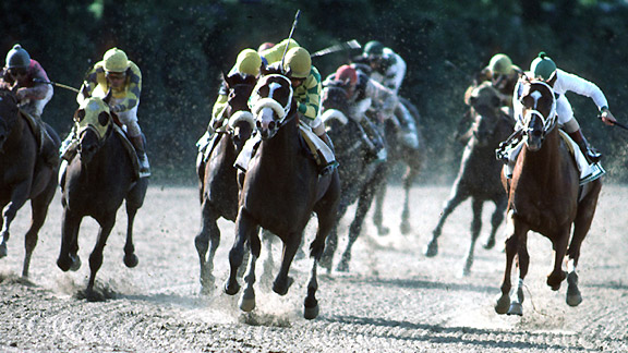 Jockey Jerry Bailey and Hansel win the 1991 Belmont Stakes.
