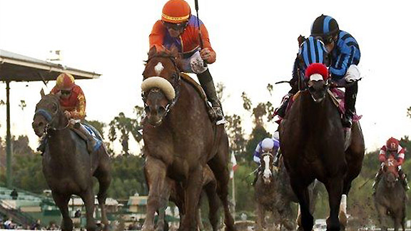 Jimmy Creed takes the 2012 Malibu Stakes at Santa Anita Park.