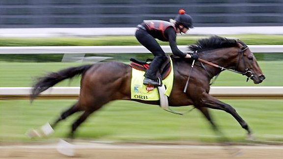 Orb works at Churchill Downs on Monday, May 29, 2013.