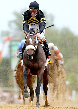 Gary Stevens and Oxbow win the 138th Preakness Stakes.