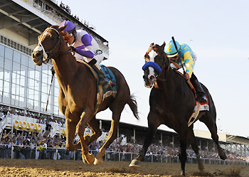 Bodemeister (right) finishes second to I'll Have Another in the 2012 Preakness Stakes.