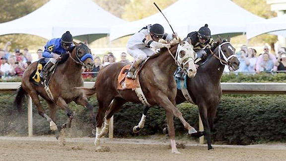 Will Take Charge beats Oxbow to the wire in the 2013 Rebel Stakes at Oaklawn Park.