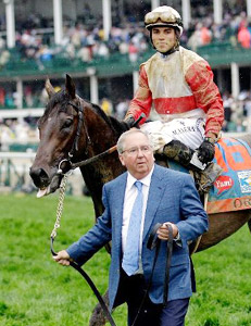Trainer Shug McGaughey, jockey Joel Rosario and Kentucky Derby winner Orb at Churchill Downs.