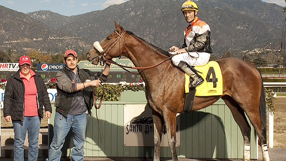 Gary Stevens gets to the winner's circle at Santa Anita aboard Branding.