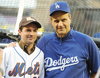 Kent Desormeaux and Joe Torre at Shea Stadium in Queens, New York on June 1, 2008.