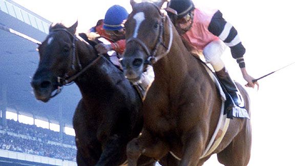 Affirmed (inside) wins the 1978 Belmont Stakes and the Triple Crown.