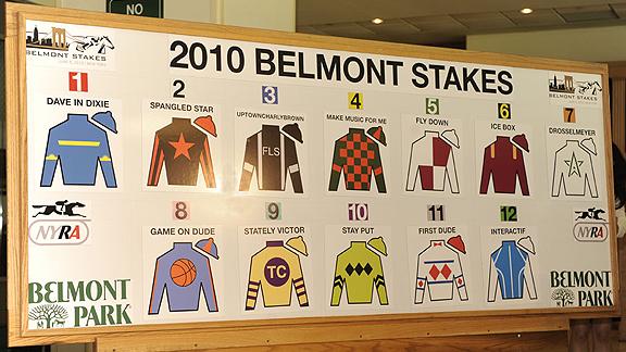 Belmont Stakes draw board