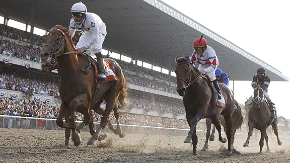 Drosselmeyer, with Mike Smith aboard, captures the 142nd Belmont Stakes