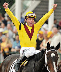 Calvin Borel and Rachel Alexandra win the 2009 Preakness Stakes