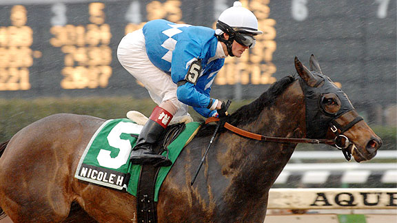 Nicole H wins the 2011 Distaff Handicap at Aqueduct.