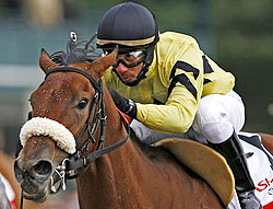 Rene Douglas rides Christmas Kid to a win at Keeneland in April of 2007.