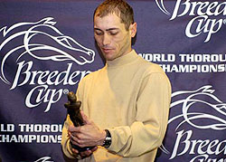 Jockey Garrett Gomez receives George Wolff Award at a post Breeders Cup breakfast at Belmont Park in 2005.