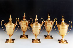 Kelso's five Jockey Gold Cup trophies are showcased at the  National Museum  of Racing.
