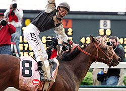 Mine That Bird and Calvin Borel win the 135th Kentucky Derby.