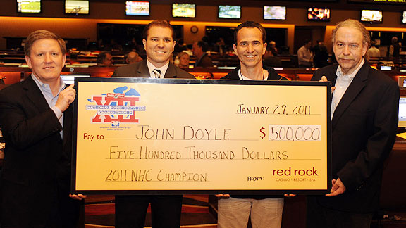 John Doyle, 49, of Scottsdale, Ariz., rallied to win the $500,000 prize and title of 2010 Handicapper of the Year.