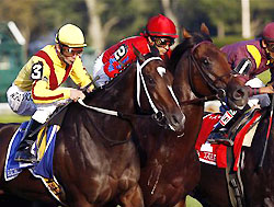 Rachel Alexandra (left) wins the Woodward at Saratoga.