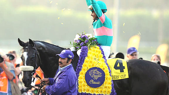Zenyatta and jockey Mike Smith win the 2009 Breeders' Cup Classic